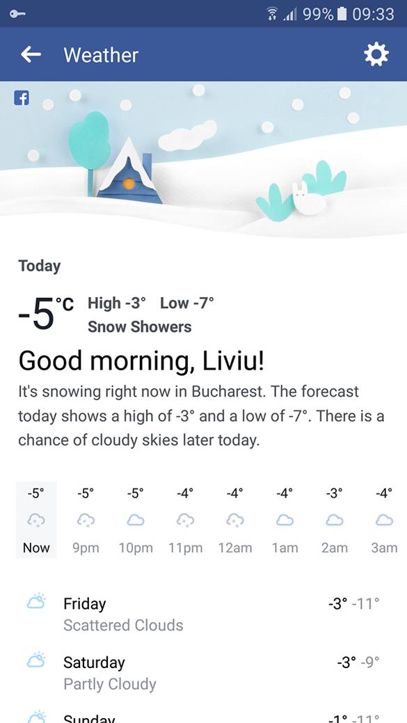 FOTO Facebook lansează o secțiune dedicată prognozei meteo