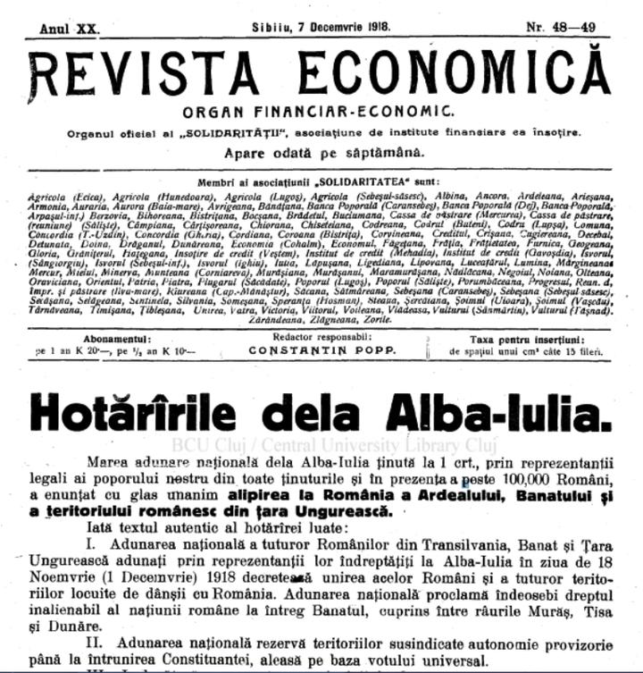"""FOTO ARHIVĂ Ce scria presa de business din Ardeal la Marea Unire din 1918: """"În lipsă de buget votat în regulă, plata impozitelor nu este obligatorie!"""""""