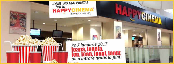 Lanțul de cineplexuri HappyCinema va oferi sărbătoriților de Sfântul Ion acces gratuit la un film la alegere