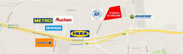 Un teren de 15.360 mp este scos la vânzare în zona de Est a Capitalei. Ideal pentru dezvoltarea unui parc logistic