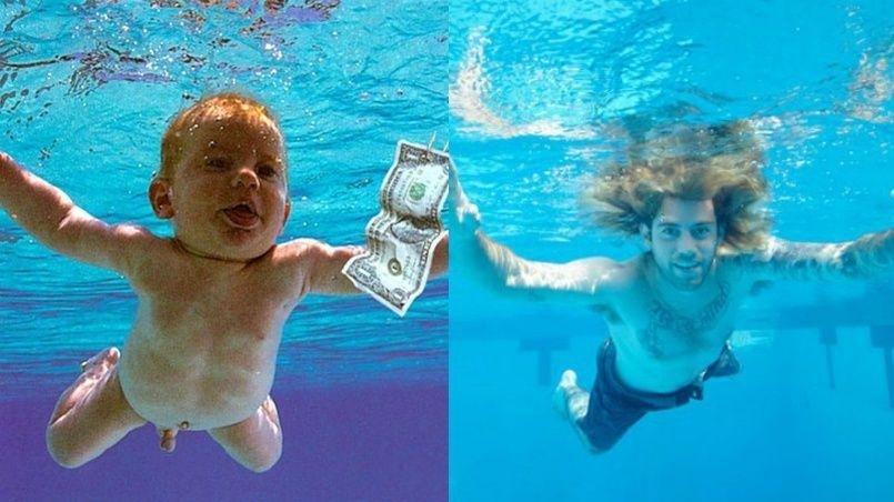"""Bebeluşul de pe coperta albumului """"Nevermind"""", din nou în piscină, pentru a imita acea imagine celebră, la 25 de ani după lansarea discului trupei Nirvana"""