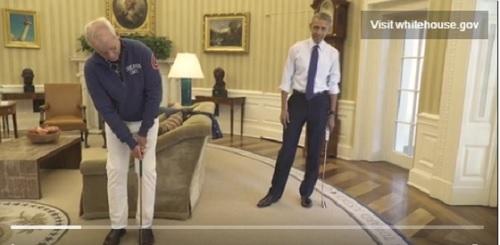 Bill Murray a jucat minigolf cu Barack Obama în Biroul Oval de la Casa Albă. VIDEO