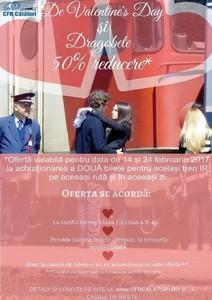 CFR Călători pune în vânzare bilete la jumătate de preţ, de Valentine's Day şi de Dragobete