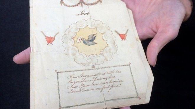 O felicitare de Valentines Day datată 1797, care ar putea fi cea mai veche din lume, este pusă în vânzare la Derbyshire