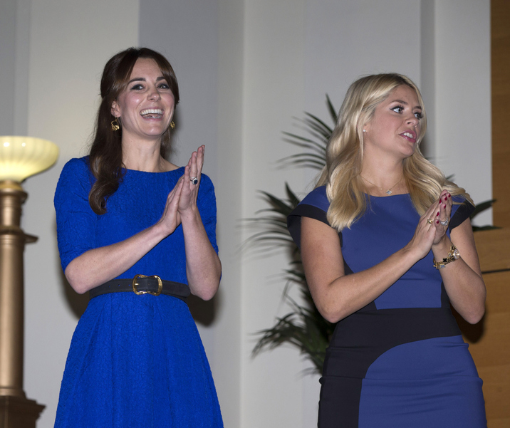 LONDON, ENGLAND - NOVEMBER 17:  Catherine, Duchess of Cambridge stands next to Holly Willoughby as she attends the Fostering Network's Fostering Excellence Awards at BMA House on November 17, 2015 in London, England. Her Royal Highness will meet all award winners at a special tea party, and present the Fostering Achievement Award to three young people.  (Photo by Ian Vogler - WPA Pool / Getty Images)