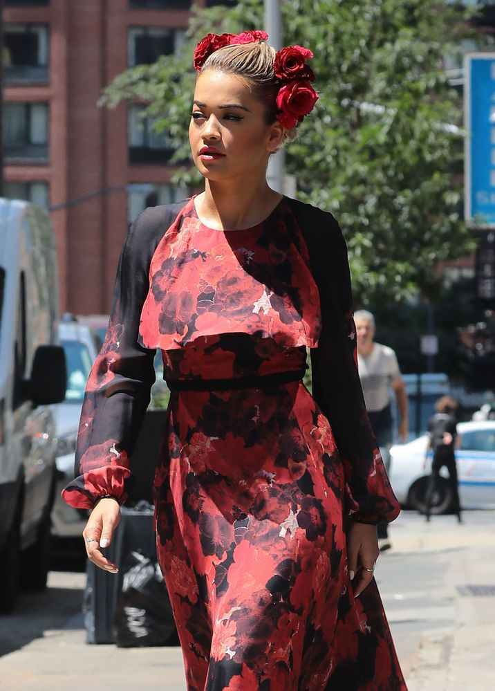 52135239 British singer Rita Ora is spotted out and about in New York City, New York wearing a red and black dress on July 28, 2016. Rita is currently in NYC filming the new season of 'America's Next Top Model' after she was hired to replace Tyra Banks as the host of the hit US TV show. FameFlynet, Inc - Beverly Hills, CA, USA - +1 (310) 505-9876