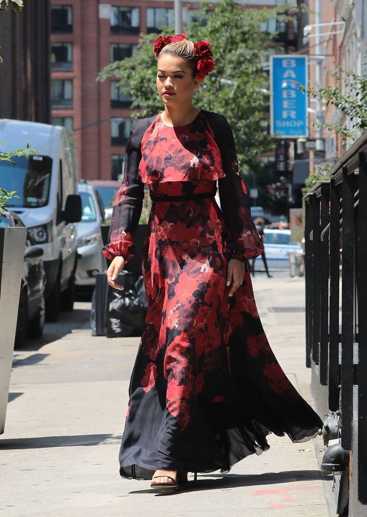 52135238 British singer Rita Ora is spotted out and about in New York City, New York wearing a red and black dress on July 28, 2016. Rita is currently in NYC filming the new season of 'America's Next Top Model' after she was hired to replace Tyra Banks as the host of the hit US TV show. FameFlynet, Inc - Beverly Hills, CA, USA - +1 (310) 505-9876