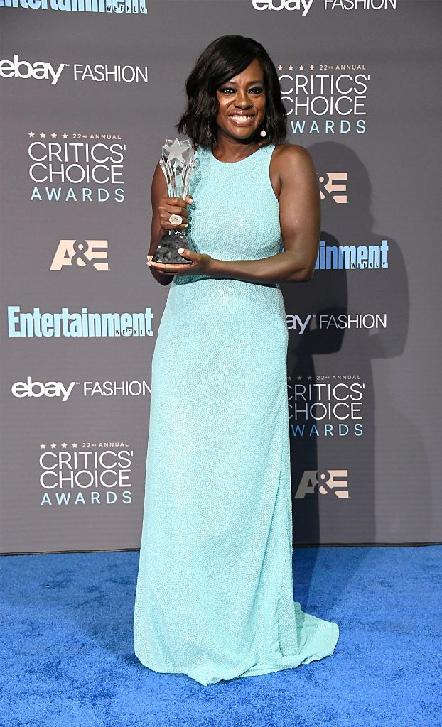 SANTA MONICA, CA - DECEMBER 11: Actress Viola Davis, winner of Best Supporting Actress for 'Fences', poses in the press room during The 22nd Annual Critics' Choice Awards at Barker Hangar on December 11, 2016 in Santa Monica, California. (Photo by Frazer Harrison/Getty Images)