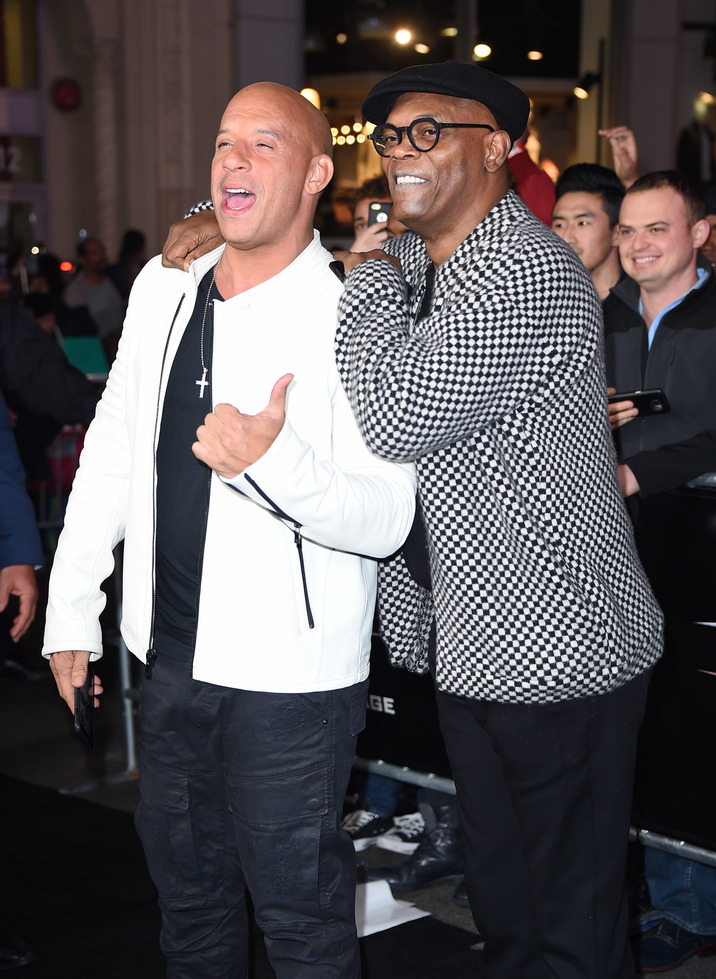 Mandatory Credit: Photo by Jim Smeal/BEI/Shutterstock (7903580av) Vin Diesel and Samuel L Jackson 'xXx: The Return of Xander Cage' film premiere, Los Angeles, USA - 19 Jan 2017