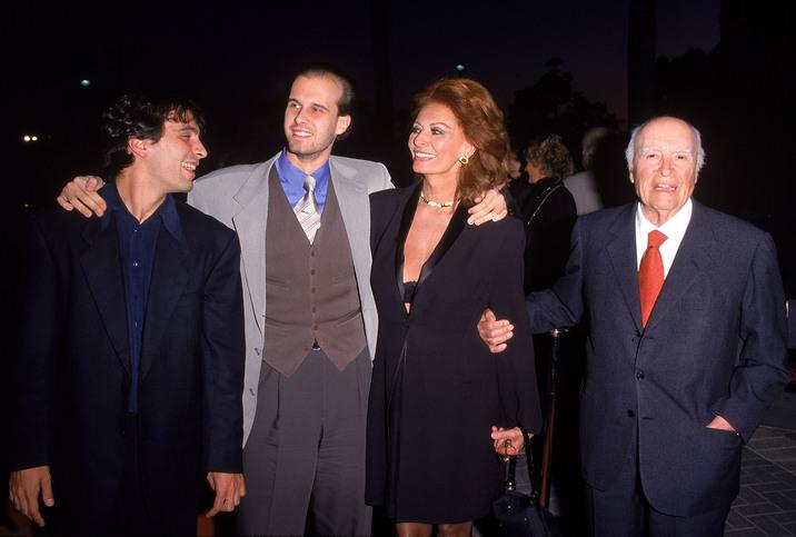 Sophia Loren, Carlo Ponti şi fiii lor, Edoardo şi Carlo Jr.