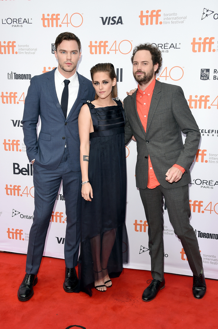 "TORONTO, ON - SEPTEMBER 13: Actor Nicholas Hoult, actress Kristen Stewart and director Drake Doremus attend the ""Equals"" premiere during the 2015 Toronto International Film Festival at the Princess of Wales Theatre on September 13, 2015 in Toronto, Canada. (Photo by Jason Merritt/Getty Images)"