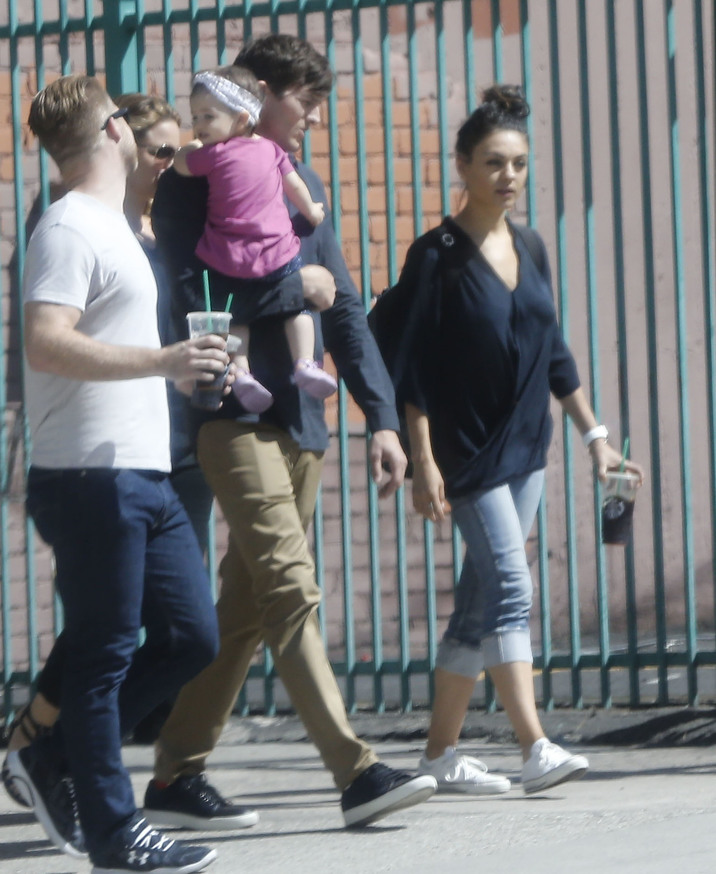 Exclusive... 51873041 Actor Ashton Kutcher gets a visit from wife Mila Kunis and daughter Wyatt while filming an upcoming movie in Los Angeles, California on October 7, 2015. Rumors are swirling that the pair are expecting baby number 2. FameFlynet, Inc - Beverly Hills, CA, USA - +1 (818) 307-4813