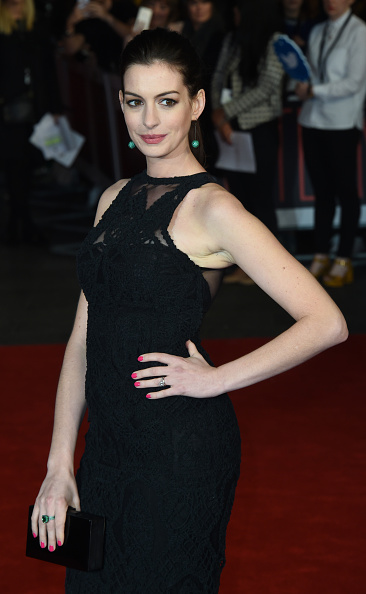 """LONDON, ENGLAND - SEPTEMBER 27:  Anne Hathaway attends the UK Premiere of """"The Intern"""" at Vue West End on September 27, 2015 in London, England.  (Photo by Stuart C. Wilson/Getty Images)"""
