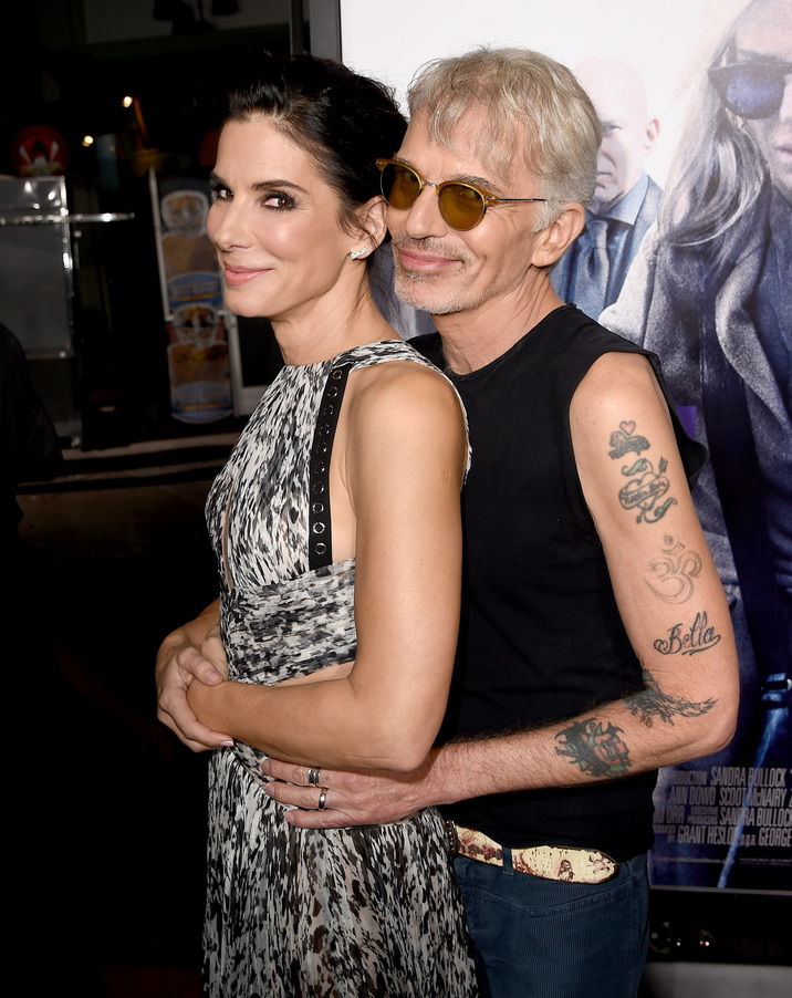 "HOLLYWOOD, CA - OCTOBER 26:  Actress/producer Sandra Bullock (L) and actor Billy Bob Thornton attend the premiere of Warner Bros. Pictures' ""Our Brand Is Crisis"" at TCL Chinese Theatre on October 26, 2015 in Hollywood, California.  (Photo by Kevin Winter/Getty Images)"