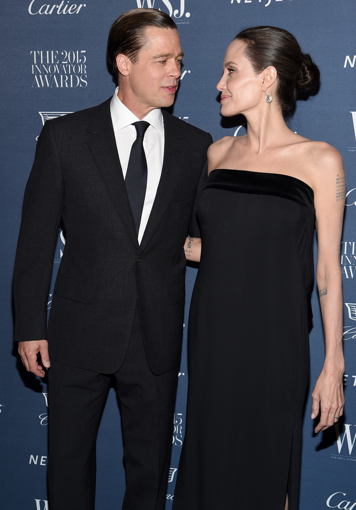 NEW YORK, NY - NOVEMBER 04:  2015 Entertainment Innovator Angelina Jolie Pitt (R) and Brad Pitt attend the WSJ. Magazine 2015 Innovator Awards at the Museum of Modern Art on November 4, 2015 in New York City.  (Photo by Dimitrios Kambouris/Getty Images for WSJ. Magazine 2015 Innovator Awards)