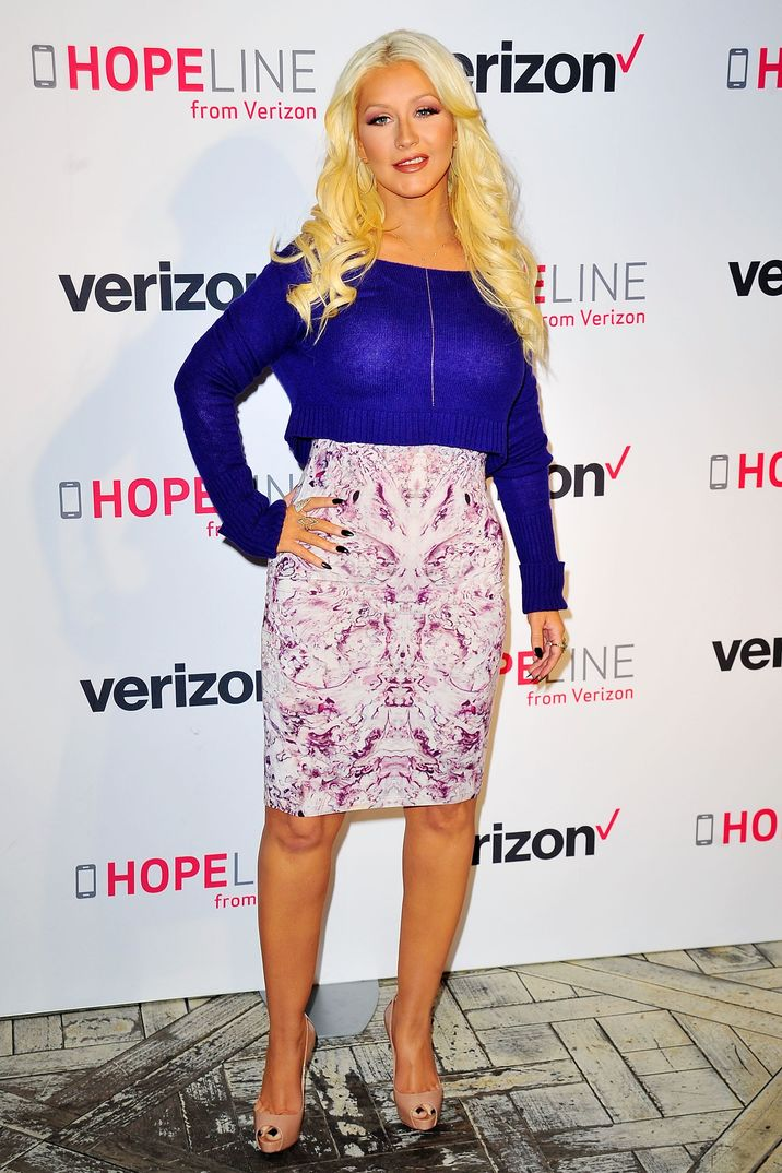 WEST HOLLYWOOD, CA - NOVEMBER 12:  Christina Aguilera raises awareness about domestic violence with Verizon's HopeLine Program at The London Hotel on November 12, 2015 in West Hollywood, California.  (Photo by Jerod Harris/Getty Images)