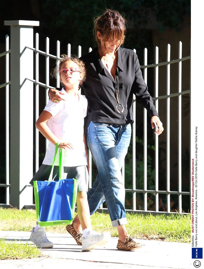Mandatory Credit: Photo by Broadimage/REX Shutterstock (5280350c) Halle Berry and daughter Nahla Aubrey Halle Berry out and about, Los Angeles, America - 20 Oct 2015