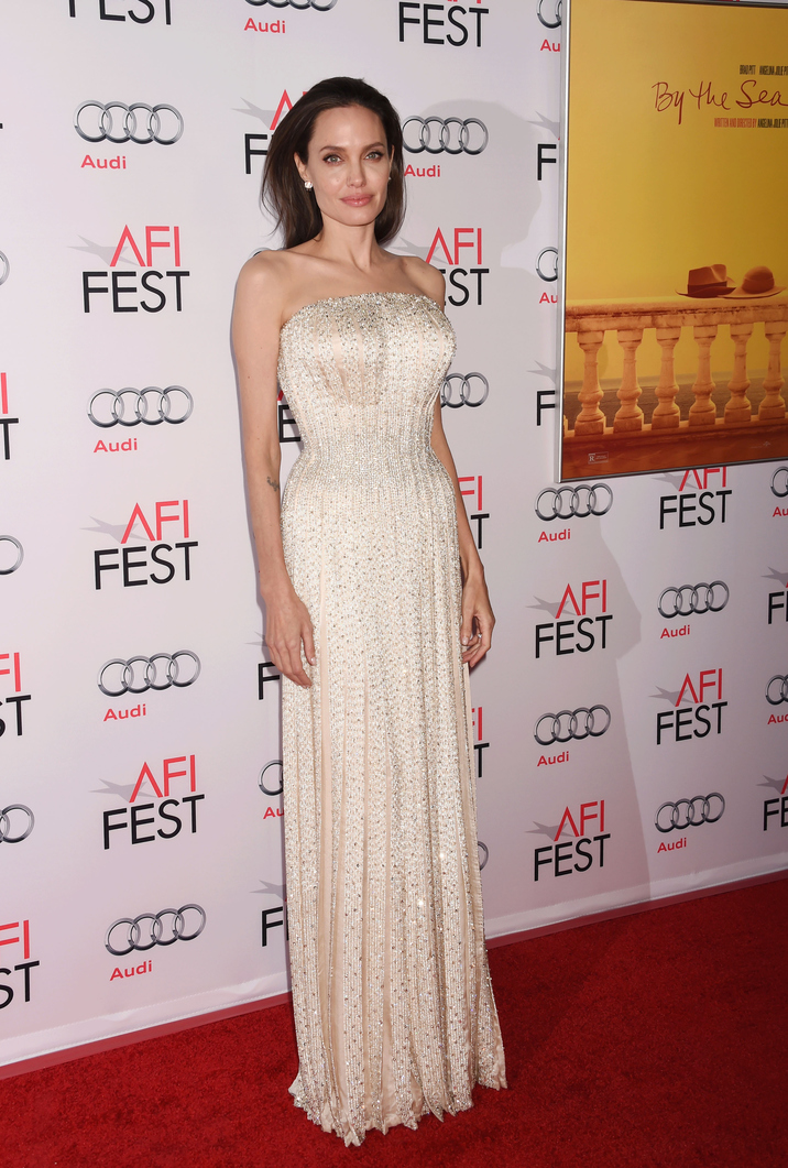 HOLLYWOOD, CA - NOVEMBER 05: Actress/director Angelina Jolie arrives at the AFI FEST 2015 presented by Audi Opening Night Gala Premiere of Universal Pictures' 'By The Sea' at TCL Chinese 6 Theatres on November 5, 2015 in Hollywood, California.(Photo by Jeffrey Mayer/WireImage)