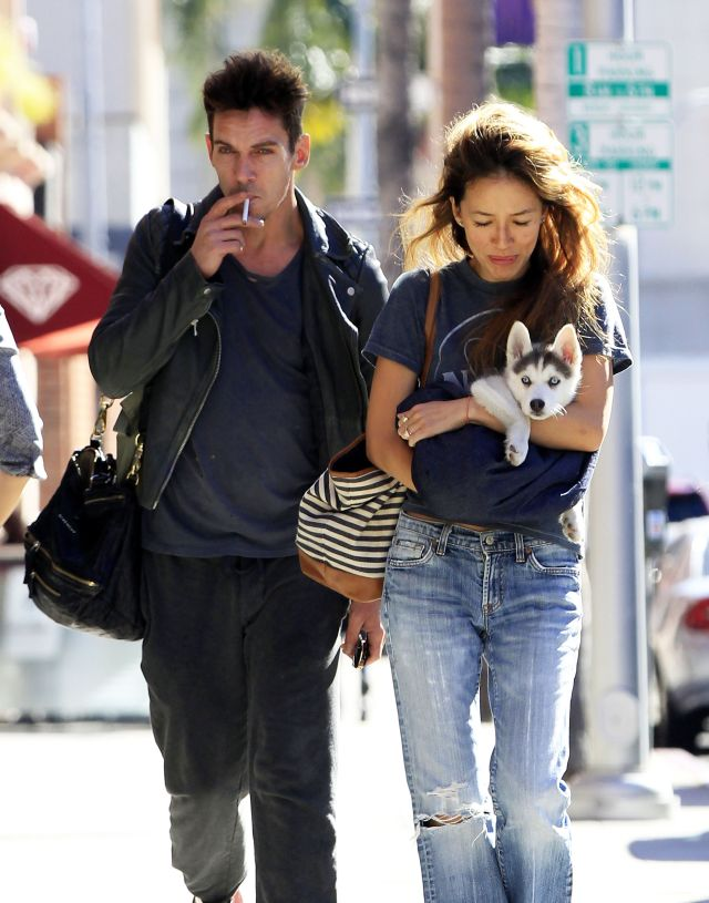 51920720 Couple Jonathan Rhys Meyers and Mara Lane are spotted out and about in Beverly Hills, California with a puppy on December 2, 2015. Jonathan, who has battled substance abuse in the past, appeared to have bloodshot eyes during the outing. FameFlynet, Inc - Beverly Hills, CA, USA - +1 (818) 307-4813
