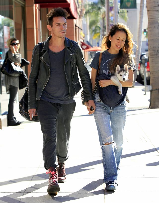 51920737 Couple Jonathan Rhys Meyers and Mara Lane are spotted out and about in Beverly Hills, California with a puppy on December 2, 2015. Jonathan, who has battled substance abuse in the past, appeared to have bloodshot eyes during the outing. FameFlynet, Inc - Beverly Hills, CA, USA - +1 (818) 307-4813