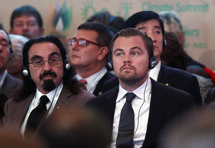 PARIS, FRANCE - DECEMBER 04:  US actor Leonardo DiCaprio (R) and his father George DiCaprio (L) attend a Summit of Local elected for Climate at the Paris city hall on December 04, 2015 in Paris, France. Thousand mayors from different cities gather at the Paris city hall during the COP21, Paris Climate Conference.  (Photo by Thierry Chesnot/Getty Images)