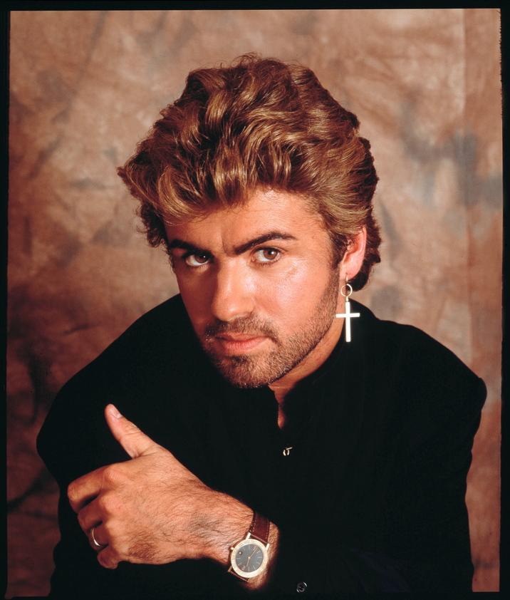 George Michael, studio portrait, London, 1987. (Photo by Michael Putland/Getty Images)