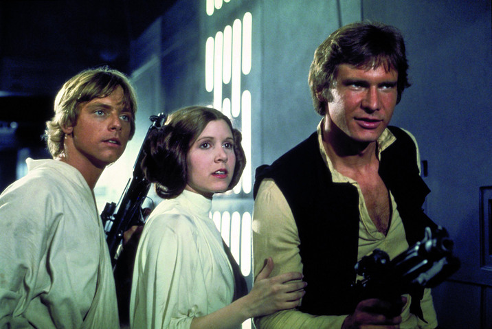 STAR WARS (1977) - CARRIE FISHER - MARK HAMILL - HARRISON FORD. Credit: LUCASFILM/20TH CENTURY FOX / Album