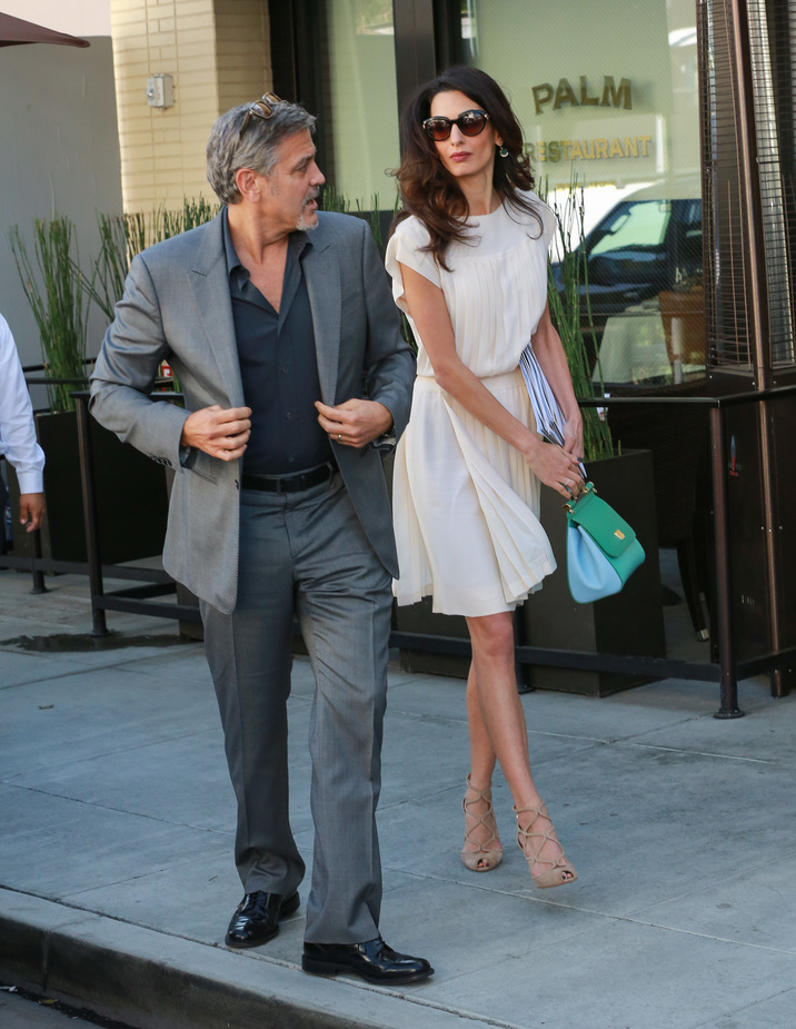 LOS ANGELES, CA - OCTOBER 22: George Clooney and Amal Clooney are seen on October 22, 2015 in Los Angeles, California.  (Photo by Bauer-Griffin/GC Images)
