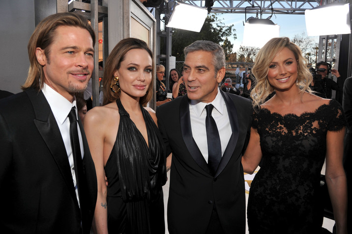LOS ANGELES, CA - JANUARY 29:  (L-R) Actors Brad Pitt, Angelina Jolie, George Clooney and Stacy Keibler arrive at The 18th Annual Screen Actors Guild Awards broadcast on TNT/TBS at The Shrine Auditorium on January 29, 2012 in Los Angeles, California. (Photo by Lester Cohen/WireImage) 22005_007_LC_0913.JPG