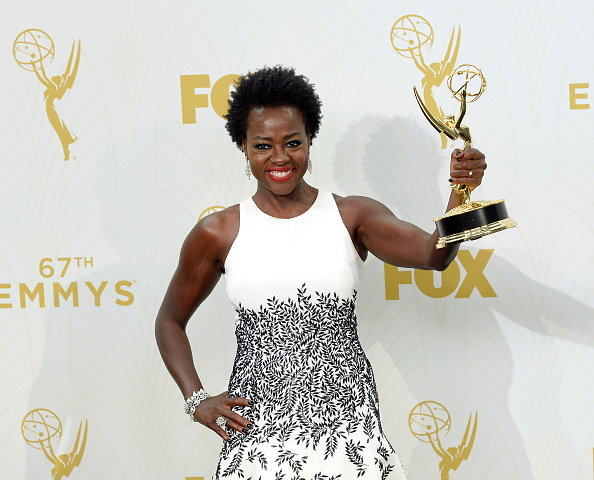 "LOS ANGELES, CA - SEPTEMBER 20: Actress Viola Davis, winner of Outstanding Lead Actress in a Drama Series for ""How to Get Away With Murder,"" poses in the press room at the 67th Annual Primetime Emmy Awards at Microsoft Theater on September 20, 2015 in Los Angeles, California. (Photo by Kevork Djansezian/Getty Images)"