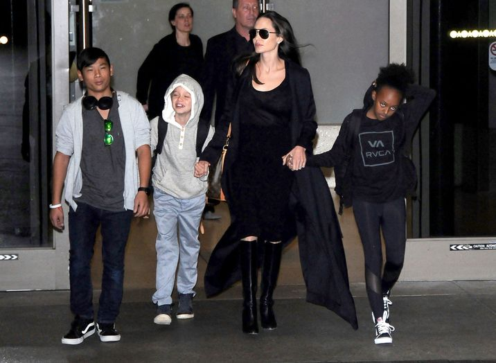 51985737 Actress Angelina Jolie and her kids Pax, Shiloh and Zahara are seen arriving on a flight at LAX airport in Los Angeles, California on March 2, 2016. The family was returning from Cambodia where Angelina spent the last 3 months filming the documentary 'First They Killed My Father'. FameFlynet, Inc - Beverly Hills, CA, USA - +1 (310) 505-9876