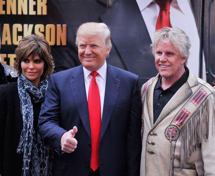 "NEW YORK, NY - OCTOBER 12: Castmembers actress Lisa Renna businessman/host Donald Trump and actor Gary Busey attend the ""Celebrity Apprentice All Stars"" Season 13 Bus Tour at on October 12, 2012 in New York City. (Photo by Stephen Lovekin/Getty Images)"