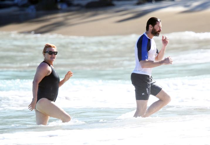 Exclusive... 52022736 'Wolverine' actor Hugh Jackman and his wife Deborra-Lee Furness enjoy a cool dip in the ocean while on vacation in St. Barts, France on April 13, 2016. The happy couple are currently celebrating their 20th wedding anniversary! Jackman, who has been diagnosed with skin cancer several times in the last couple of years, didn't seem to mind catching some rays in the ocean with his wife. Deborra-Lee could be seen sporting a small bandage on her right foot during the swim!  'Wolverine' actor Hugh Jackman and his wife Deborra-Lee Furness enjoy a cool dip in the ocean while on vacation in St. Barts, France on April 13, 2016. The happy couple are currently celebrating their 20th wedding anniversary! Jackman, who has been diagnosed with skin cancer several times in the last couple of years, didn't seem to mind catching some rays in the ocean with his wife. Deborra-Lee could be seen sporting a small bandage on her right foot during the swim! FameFlynet, Inc - Beverly Hills, CA, USA - +1 (310) 505-9876 RESTRICTIONS APPLY: NO GERMANY,NO ITALY,NO FRANCE,NO SPAIN