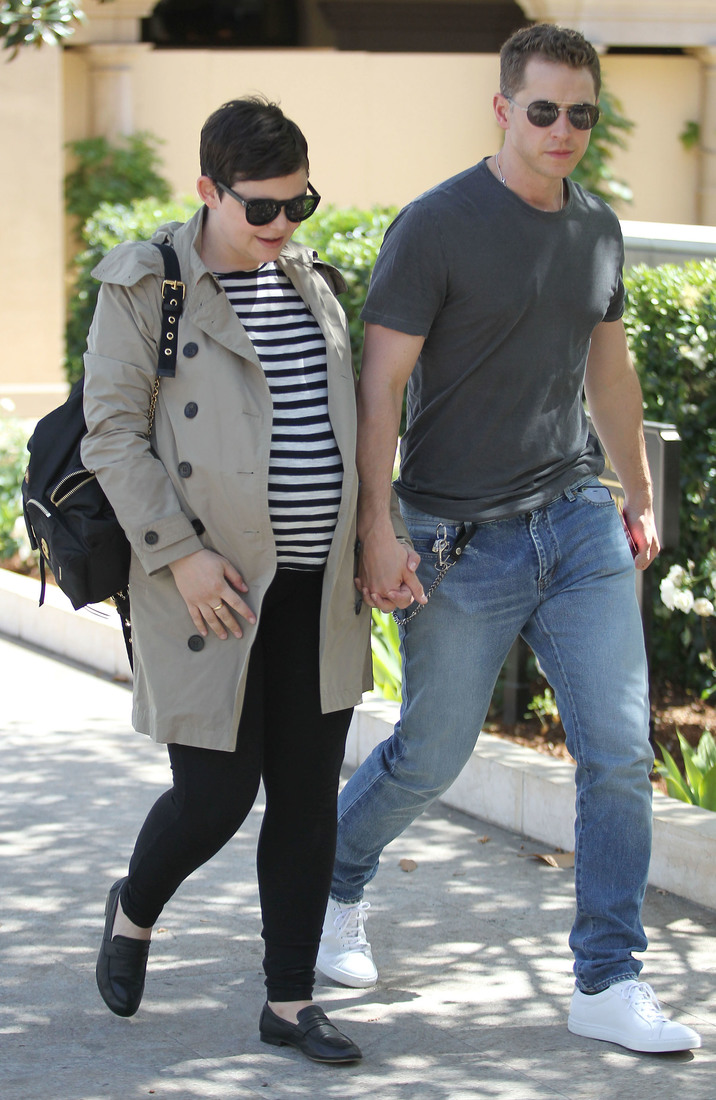 52034550 Pregnant Ginnifer Goodwin and husband Josh Dallas are spotted out for lunch in Beverly Hills, California on April 25, 2016. The pair were seen holding hands as they made their way down the street. FameFlynet, Inc - Beverly Hills, CA, USA - +1 (310) 505-9876