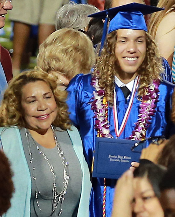 51757548 Arnold Schwarzenegger's love child Joseph Baena graduates from Frontier High School in Riverside, California on May 28, 2015. Arnold did not attend his sons graduation. FameFlynet, Inc - Beverly Hills, CA, USA - +1 (818) 307-4813
