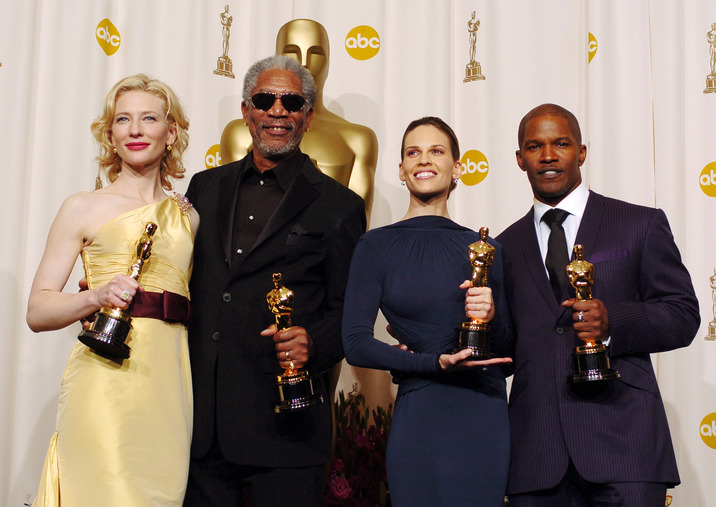 Cate Blanchett, winner Best Actress in a Supporting Role for ?The Aviator?, Morgan Freeman, winner Best Actor in a Supporting Role for ?Million Dollar Baby?, Hilary Swank, winner Best Actress in a Leading Role for ?Million Dollar Baby?, and Jamie Foxx, winner Best Actor in a Leading Role for ?Ray? (Photo by Steve Granitz/WireImage)