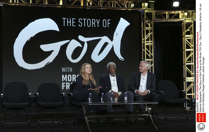 Mandatory Credit: Photo by Buchan/Variety/REX/Shutterstock (5524297k) Lori Mccreary, Morgan Freeman, James Younger National Geographic 'The Story of God' Panel at the Winter TCA Tour - Day 2, Pasadena, America - 06 Jan 2016