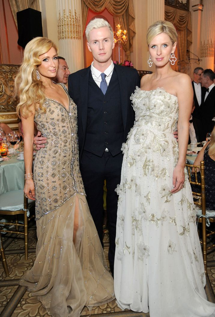NEW YORK, NY - MAY 09: (L-R) Paris Hilton, Barron Hilton, and Nicky Rothschild attend FIT's Annual Gala to Honor Dennis Basso, John and Laura Pomerantz and QVC at the Grand Ballroom at The Plaza Hotel on May 9, 2016 in New York City.  (Photo by Rabbani and Solimene Photography/Getty Images for FIT)