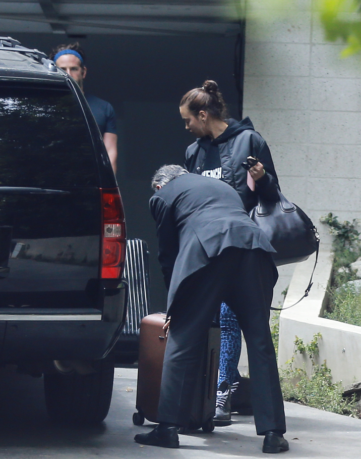 Exclusive... 52058252 Actor Bradley Cooper and girlfriend Irina Shayk were spotted leaving his house on May 15, 2016. The two let the driver load up the car with their luggage. FameFlynet, Inc - Beverly Hills, CA, USA - +1 (310) 505-9876