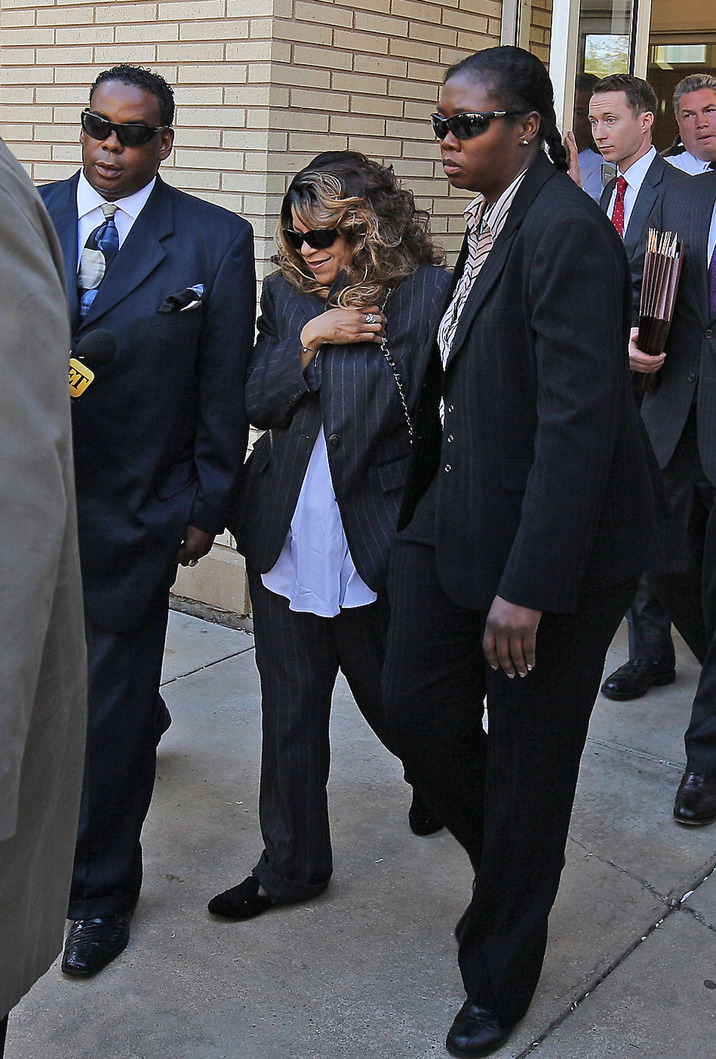 CHASKA, MN - MAY 02: Tyka Nelson, the sister of Prince, and her attorneys exit the Carver County court house after the first hearing on the musician's estate on May 2, 2016 in Chaska, Minnesota. Prince Rogers Nelson, who died on April 21, left no known will for his assets, which have an estimated value of 100 million dollars . (Photo by Adam Bettcher/Getty Images)