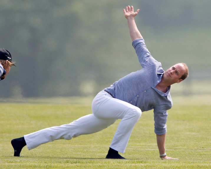 ASCOT, UNITED KINGDOM - MAY 28: (EMBARGOED FOR PUBLICATION IN UK NEWSPAPERS UNTIL 48 HOURS AFTER CREATE DATE AND TIME) Prince William, Duke of Cambridge warms up before talking part in the Audi Polo Challenge at Coworth Park Polo Club on May 28, 2016 in Ascot, England. (Photo by Max Mumby/Indigo/Getty Images)
