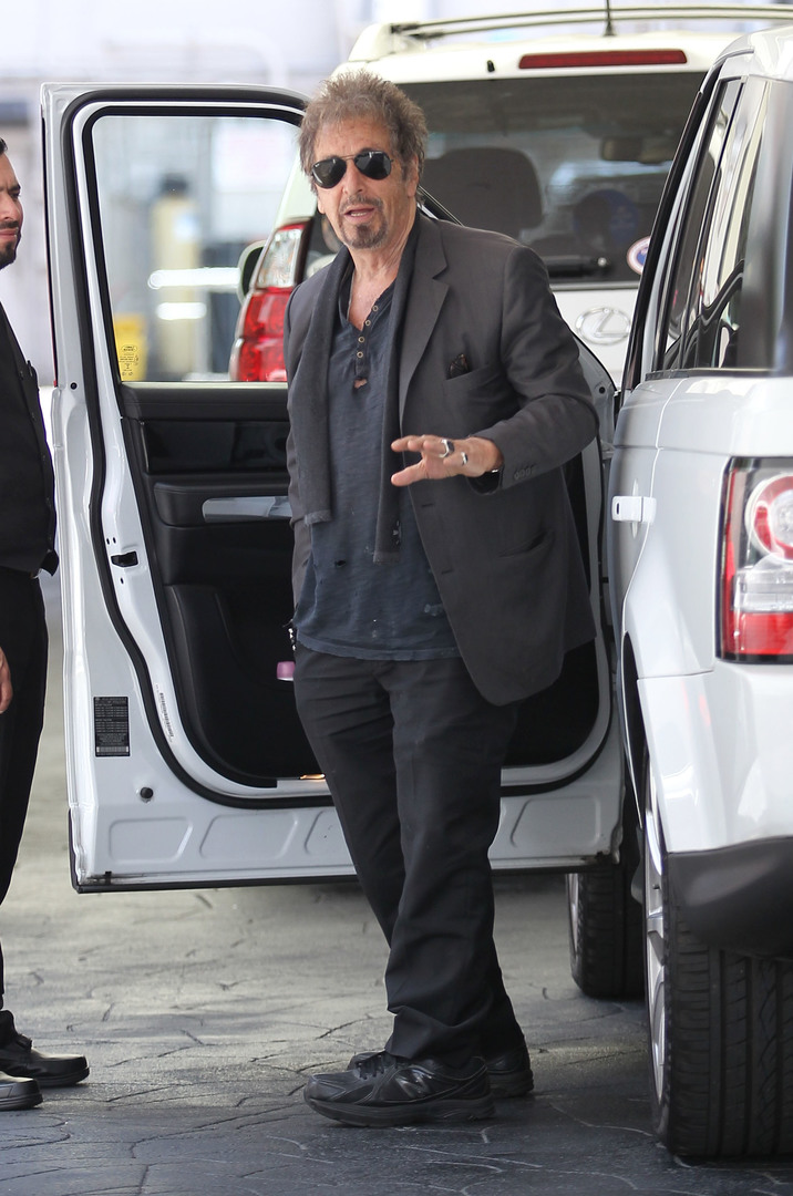 52052093 Actor Al Pacino had lunch at Ebaldi in Beverly Hills, California on May 11, 2016. He was sporting a grey jacket over a blue shirt with black pants and sunglasses. FameFlynet, Inc - Beverly Hills, CA, USA - +1 (310) 505-9876