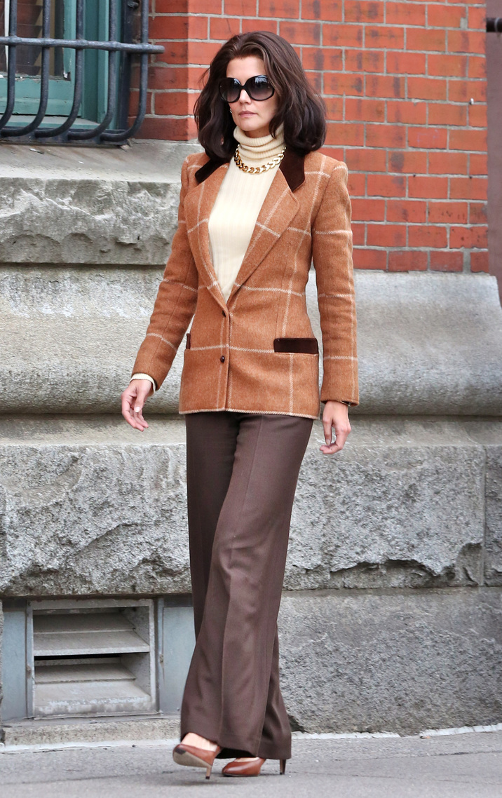 """Katie Holmes dressed as Jackie Kennedy while on set of filming her new TV Mini Series """"The Kennedys: After Camelot"""" in Toronto, Canada. Katie Holmes plays the role of """"Jackie Kennedy"""" in The Kennedys: After Camelot, and in the scene she is mobbed by a bunch of photographer as she walks down the street while trying to get in to a bar. Pictured: Katie Holmes Ref: SPL1281219  120516   Picture by: S Fernandez  / Splash News Splash News and Pictures Los Angeles:310-821-2666 New York:212-619-2666 London:870-934-2666 photodesk@splashnews.com"""