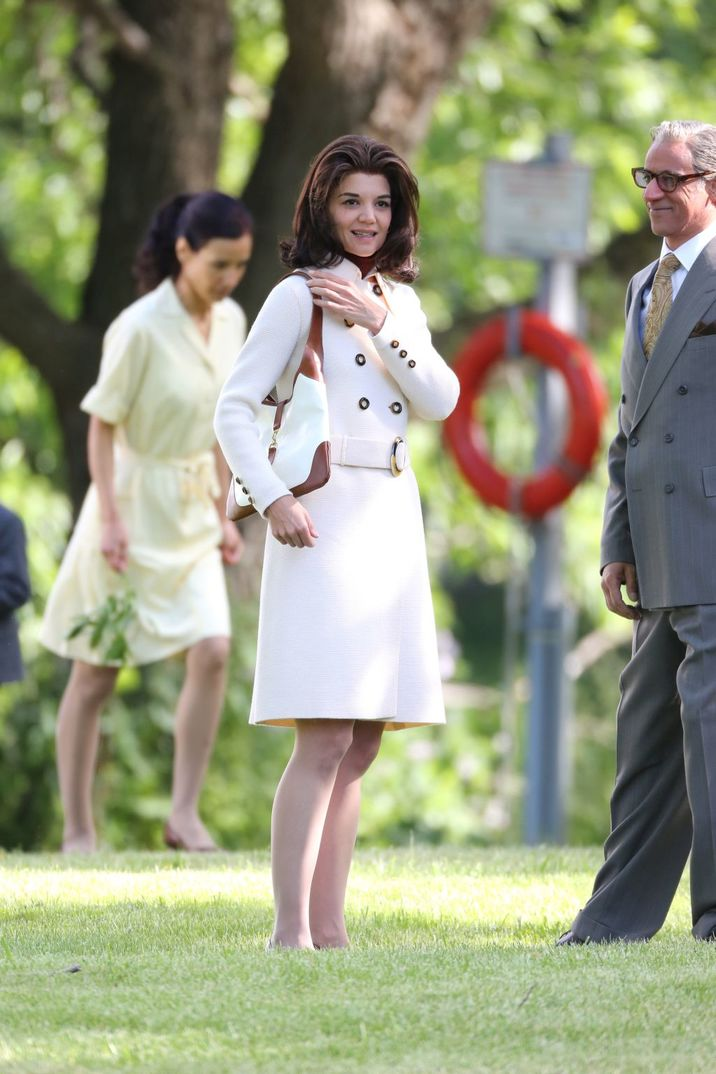"""Katie Holmes films scenes as Jacqueline Kennedy Onassis on the Toronto set of """"The Kennedys: After Camelot.""""  Pictured: Katie Holmes Ref: SPL1299894  130616   Picture by: Macca / Splash News Splash News and Pictures Los Angeles:310-821-2666 New York:212-619-2666 London:870-934-2666 photodesk@splashnews.com"""