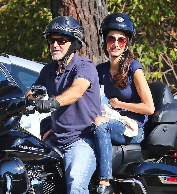 Exclusive... 52150837 Actor George Clooney takes his wife Amal Clooney for a ride on his Harley along Mulholland highway in Los Angeles, California on August 19, 2016. Rumors have been swirling that Amal is pregnant. (Hollywood Life) ***NO USE W/O PRIOR AGREEMENT - CALL FOR PRICING*** FameFlynet, Inc - Beverly Hills, CA, USA - +1 (310) 505-9876