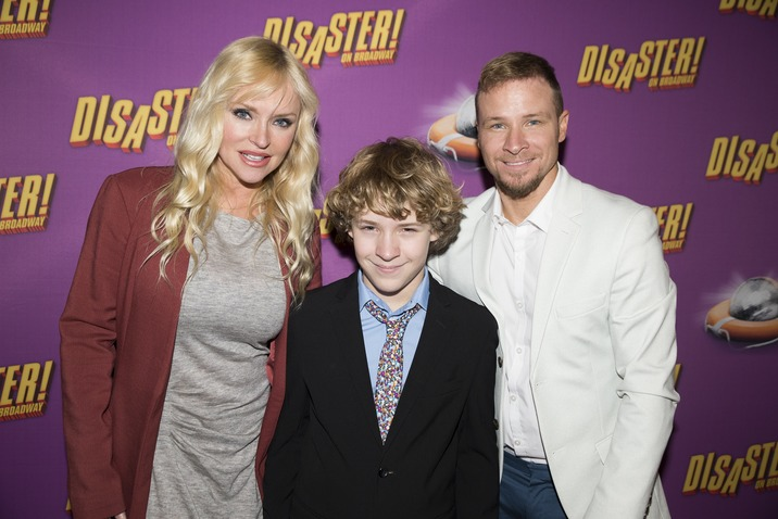 "NEW YORK, NY - MARCH 08:  Leighanne Wallace, Brian Littrell and Baylee Thomas Wylee Littrell attend ""Disaster!"" Broadway Opening Night at Hard Rock Cafe, Times Square on March 8, 2016 in New York City.  (Photo by Jenny Anderson/Getty Images)"