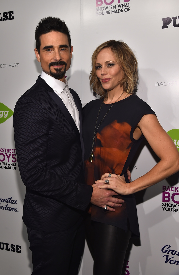 "HOLLYWOOD, CA - JANUARY 29:  Singer Kevin Richardson and Kristin Kay Willits attend the premiere of Gravitas Ventures' ""Backstreet Boys: Show 'Em What You're Made Of""   at  on January 29, 2015 in Hollywood, California.  (Photo by Alberto E. Rodriguez/Getty Images)"