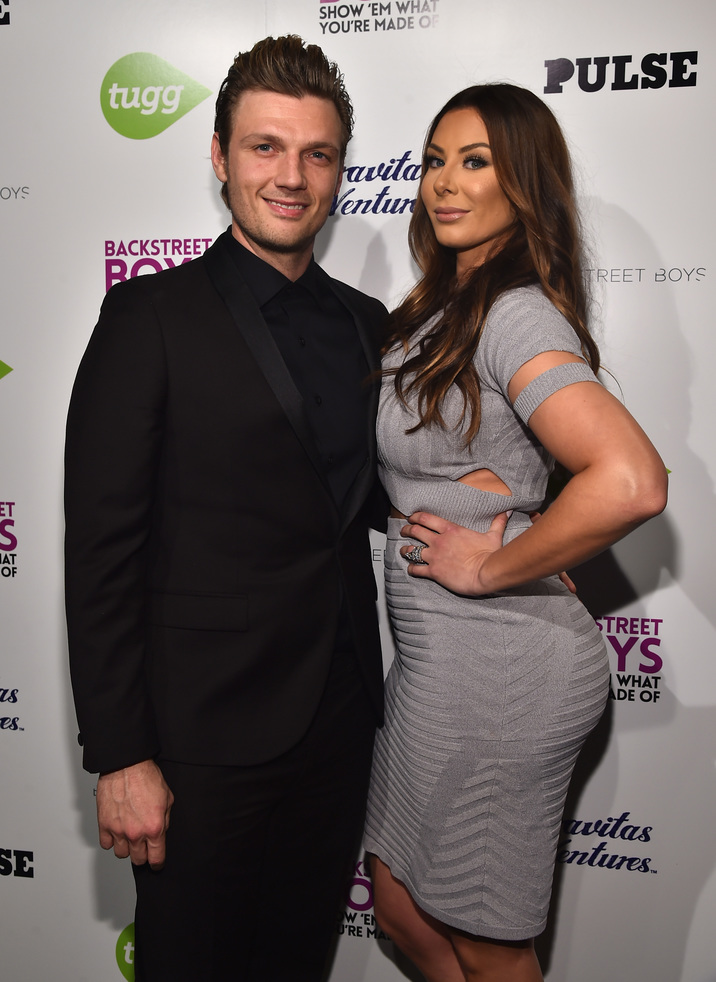 "HOLLYWOOD, CA - JANUARY 29:  Singer Nick Carter and Lauren Kitt attend the premiere of Gravitas Ventures' ""Backstreet Boys: Show 'Em What You're Made Of""   at  on January 29, 2015 in Hollywood, California.  (Photo by Alberto E. Rodriguez/Getty Images)"