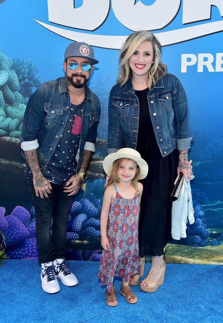 HOLLYWOOD, CA - JUNE 08: (L-R) Musician A. J. McLean, Ava Jaymes McLean and Rochelle DeAnna McLean attend The World Premiere of Disney-Pixar's FINDING DORY on Wednesday, June 8, 2016 in Hollywood, California.  (Photo by Alberto E. Rodriguez/Getty Images for Disney)