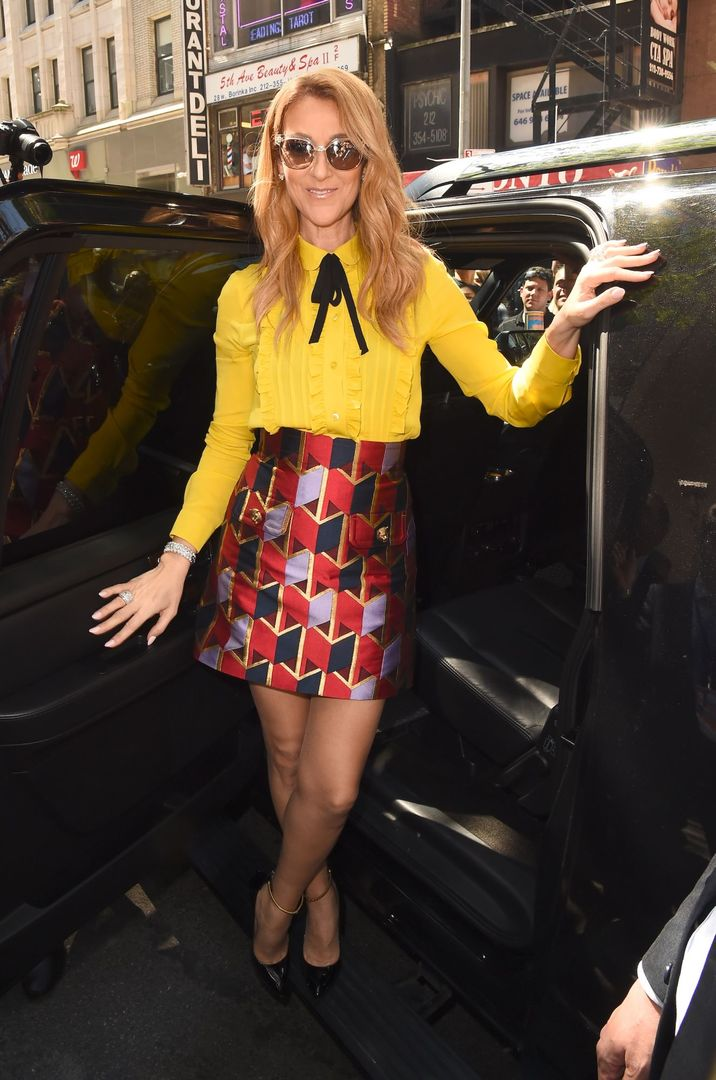 """NEW YORK, NY - JULY 22: Singer Celine Dion is seen coming out of the """"Today Show""""on July 22, 2016 in New York City. (Photo by Raymond Hall/GC Images)"""